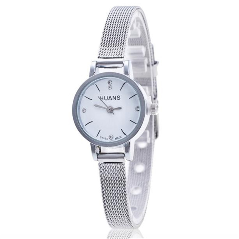 Quartz font b Watch b font Women Small Round Dial Stainless Steel Woven Mesh Band Simple