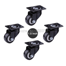 Small size 1.5 inch load 45KG/PCS PU casters mute wheel for Sofa, furniture, trolleys,home/industrial wheels KF1080 a set of 150 kg load industrial wheels 203mm 8 inch aluminum mecanum wheels online wholesale 2 left 2 right