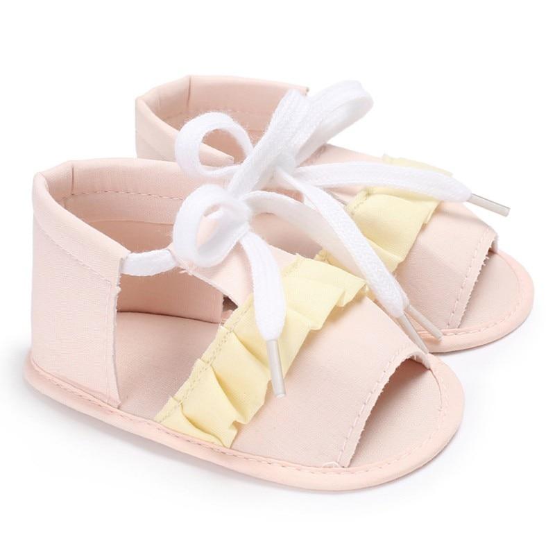 2018 Summer Newborn Infant Folk-custom Shoes Baby Girls PU Leather Bandage Sandals Pram Princess Shoes