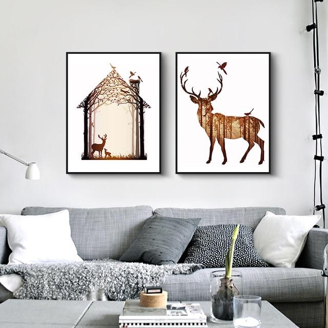 Nordic Vintage White Deer Head Animals Silhouette A4 Big Art Print ...