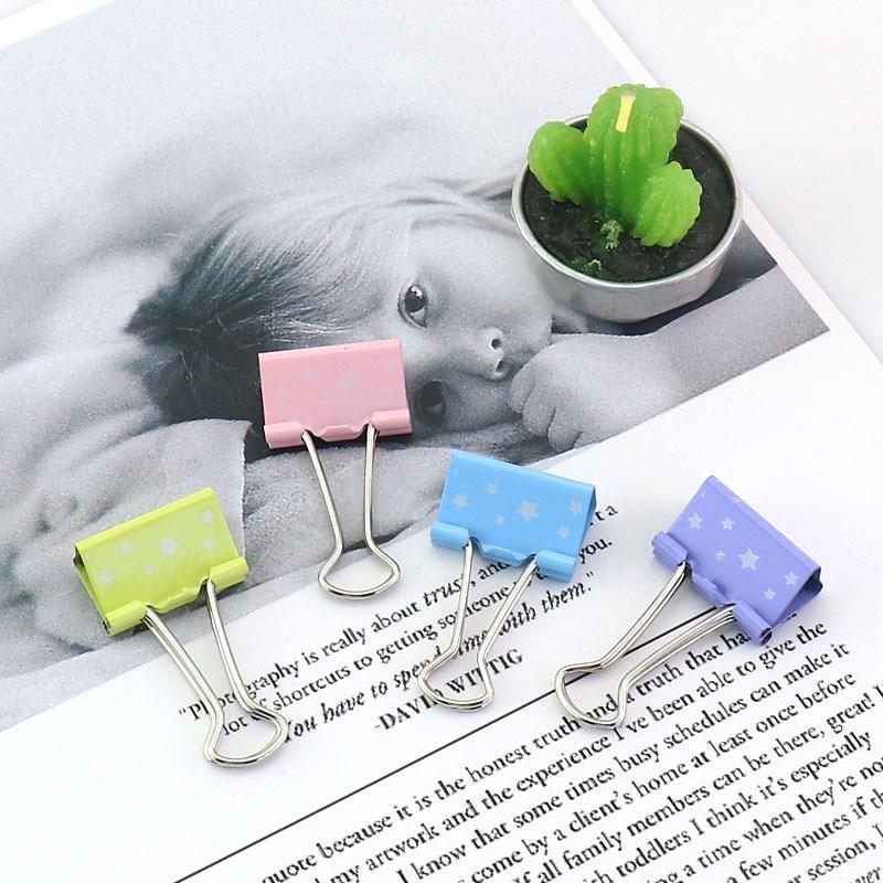 TUTU 15 Pcs/box 25mm Printed Metal Binder Clips Paper Clip Clamp Office School Binding Supplies Color Random H0187