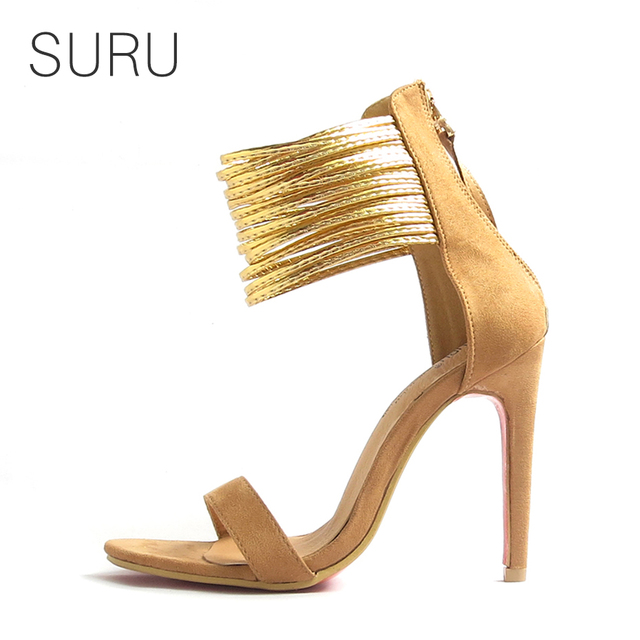Suru women 4 inches thin high heels open toe strap sandals with gold suru women 4 inches thin high heels open toe strap sandals with gold ankle wrap back thecheapjerseys Choice Image