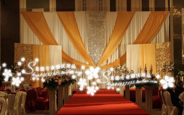 3x6m White and gold wedding backdrop drapes for wedding
