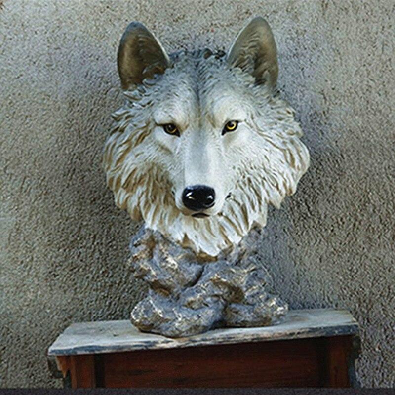 1//6 Miniature Deer Head Fairy Garden Figurine Dollhouse Wall Decoration Gray