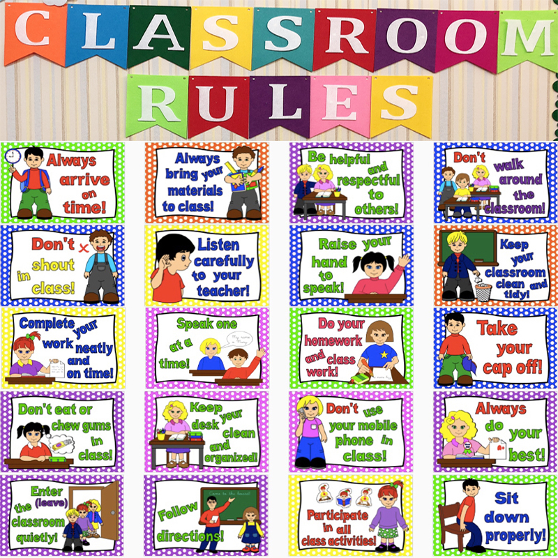 20Pcs Classroom Rules English A4 Posters Paintings Flash Cards Kids Games Montessori Early Educational Toys for Children parallel