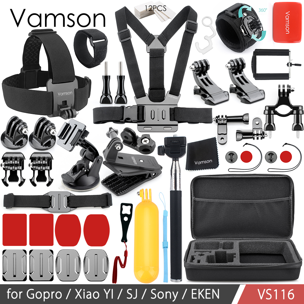 Vamson for GoPro Hero 6 5 4 3+ Accessories Set Floating Bobber Monopod Head Chest Strap Adapter for Xiaomi Yi for SJ4000 VS116
