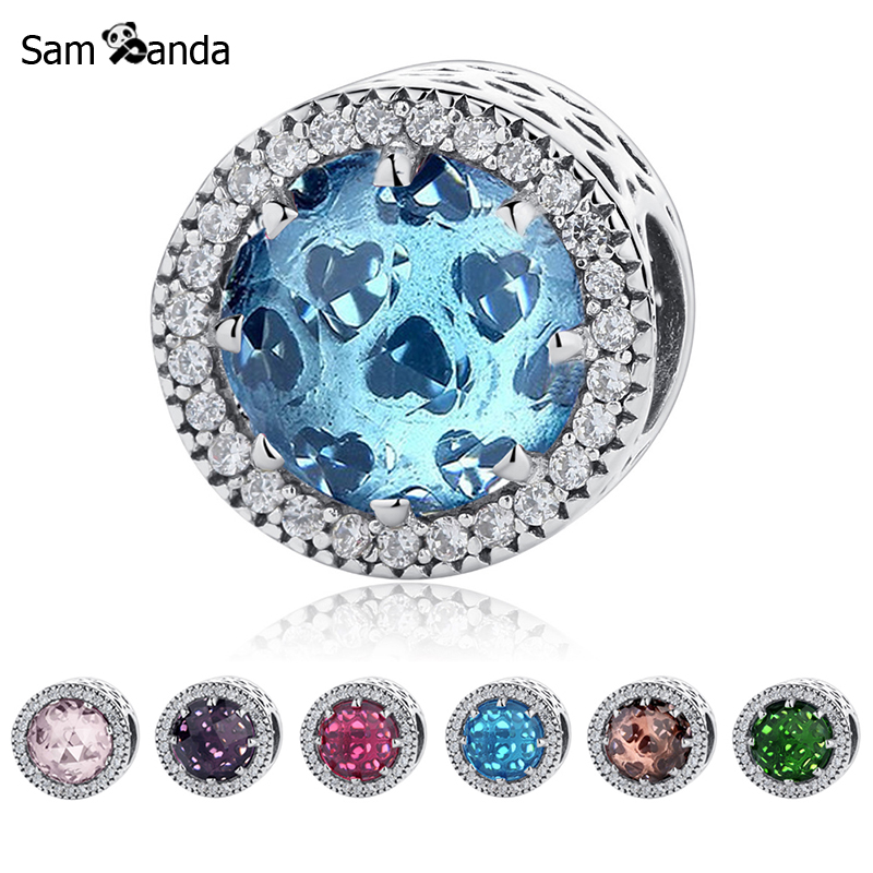925 Sterling Silver Bead Charm Crystal Radiant Hearts Beads Fit Original Pandora Bracelets & Bangles Women DIY Jewelry Making