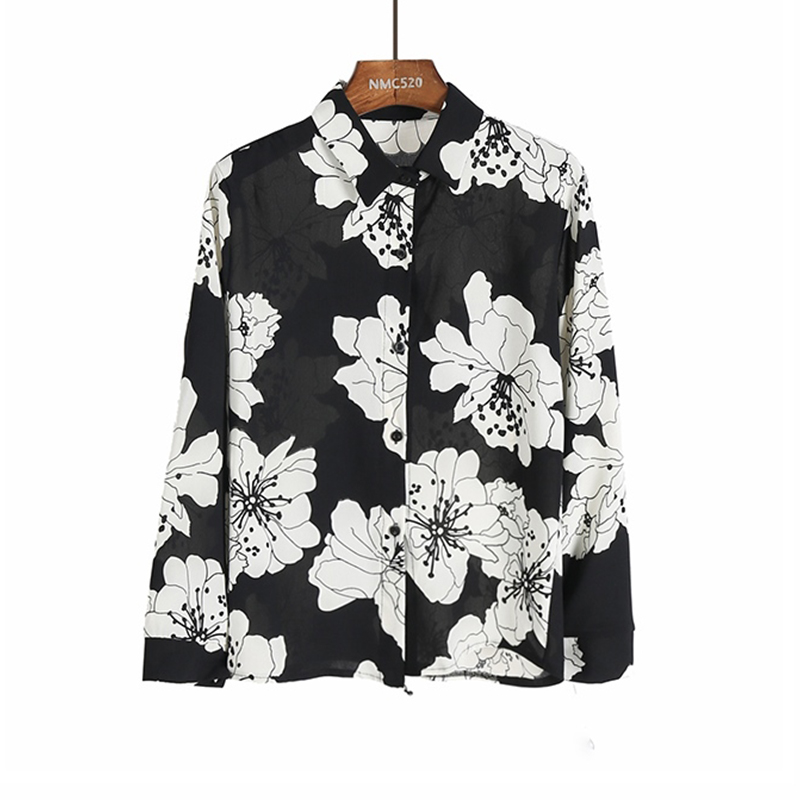 women white floral print chiffon blouse 2018 spring new black beige red lady turn down collar button up femme casual blusa