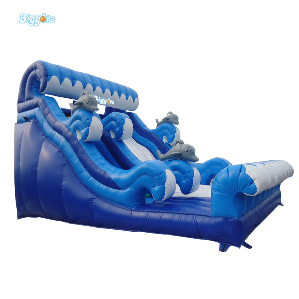 Inflatable Biggors 9*5*5M Inflatable Dolphin Dry Slide For Commercial Use inflatable biggors combo slide and pool outdoor inflatable pool slide for kids playing