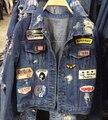 2016 новая мода марка Твердые кардиган джинсовой куртки женщины Диких Тонкий отверстие джинсовые пальто женщин