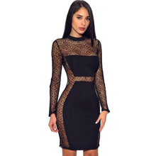 spring womens lace dress perspective tight sexy nightclub fashion mesh black