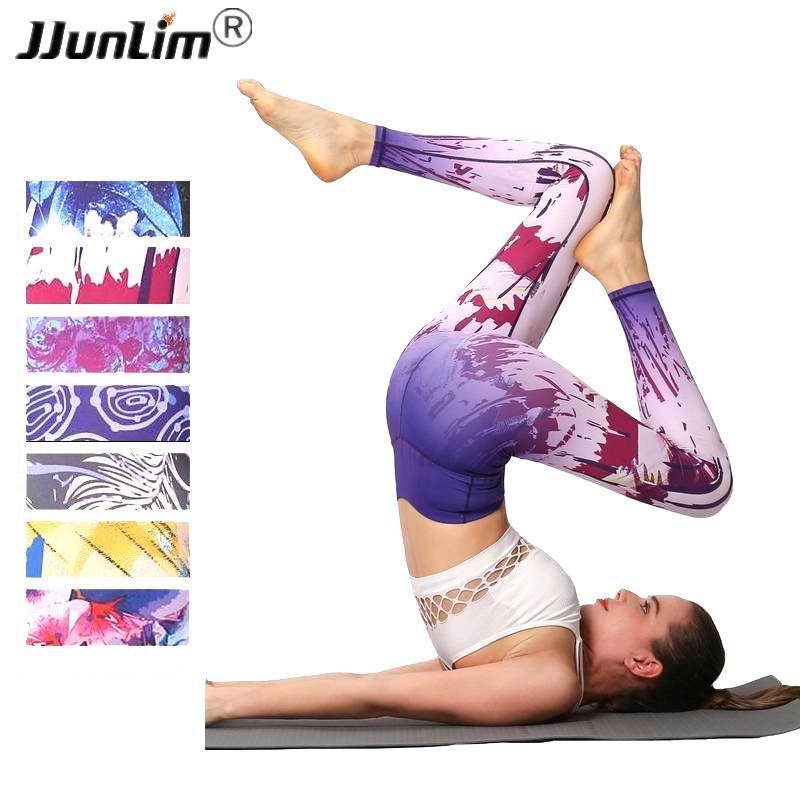 2018 Printed Fitness Leggings High Waist Women Yoga Pant Elastic Sport Leggings Female Workout Pants Yoga Leggings Running Tight mandalay floral printed ombre yoga leggings