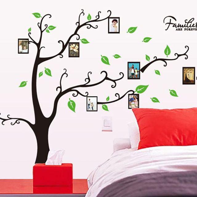 PVC verde hojas foto de familia Marcos árbol DIY Wall sticker hogar ...