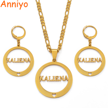 Anniyo Cant Customize Name / KWAJALEIN Pendant Chain & Earrings Jewelry set Trendy Gold Color Jewellery for Women Gifts #037821