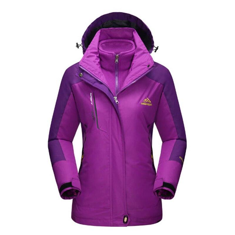 2017 Women 2 Pieces Winter Inner Fleece Jacket Outdoor Sport Warm Mountainskin Coats Hiking Trekking Skiing Female Jackets VB025