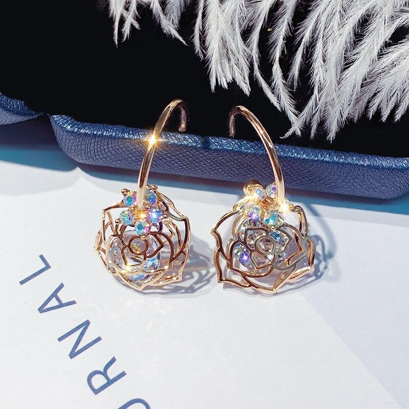 DREJEW Openwork Rose Zircon Flower Statement Earrings 925 Gold Silver Crystal Needle Stud Earrings Sets for Women Jewelry HE7011 in Stud Earrings from Jewelry Accessories