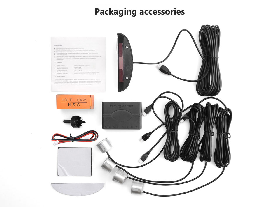Image 5 - AOSHIKE New Auto Parktronic LED Parking Sensor with 4 Sensors Reverse Backup Car Parking Radar Car Monitor Detector System-in Parking Sensors from Automobiles & Motorcycles
