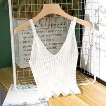 נשים סקסי סרוג יבול למעלה יבול שרוולים קצוץ אפוד Slim קלע סרוג גופייה V צוואר רגיל חולצה גבוהה אלסטי Camis