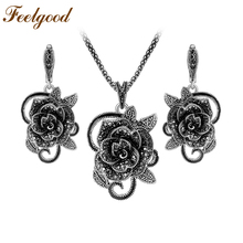 Feelgood Silver Color Vintage Jewelry Sets Popular In Russia Elegant Crystal Flower Necklace And Earrings Set Women Party Gift