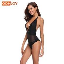 цена New Sexy Deep V Monokini Women One Piece Swimsuit Solid Black Bathing Suit S-XL Mesh Swimwear Girl Backless One Piece Beachwear онлайн в 2017 году