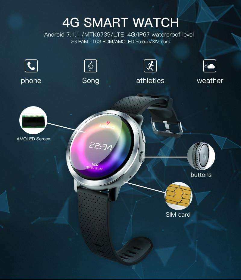 LEMFO LEM8 4G Smart Watch Android 7.1.1 GPS Smartwatch Men 2GB 16GB 580Mah Battery 1.39 Inch AMOLED Screen Sport Watch 5