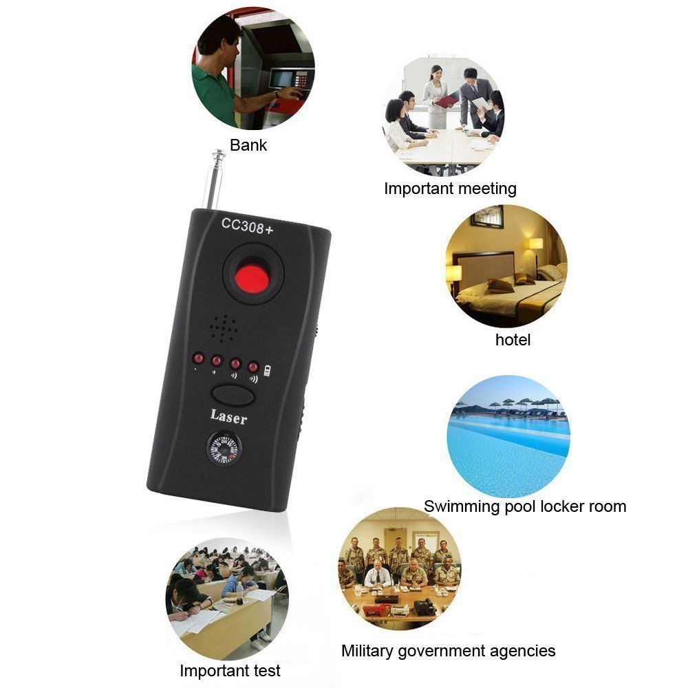Full Range Anti - Spy Bug Detector CC308 Mini Wireless Camera Hidden Signal GSM Device Finder Privacy Protect Security wholesale cc308 full range wireless camera gps anti spy bug detect rf signal detector gsm device finder fnr cc308