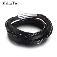 MiLaTu New Fashion Men Black Leather Braided Bracelet Multilayer Genuine Leather Wristband Rope Woven Bracelets Men