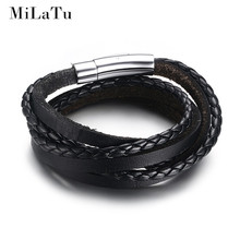 MiLaTu New Fashion Men Black Leather Braided Bracelet Multilayer Genuine Leather Wristband Rope Woven Bracelets Men Jewelry B203