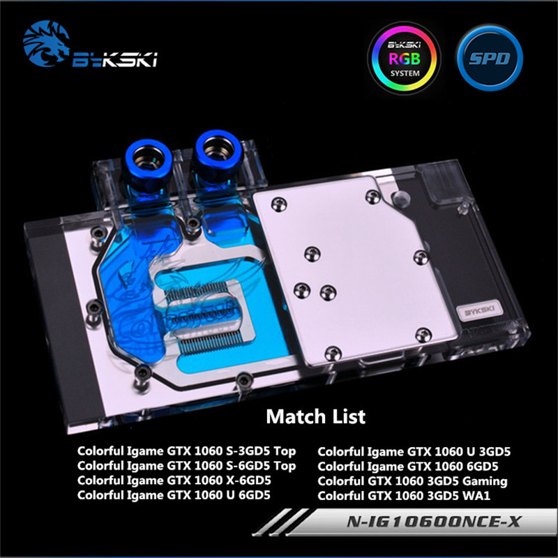 Bykski Full Coverage GPU Water Block For Colorful GTX1060 U/X/S 3GD5 6GD5 Graphics Card N-IG1060ONCE-X bykski n ig1060oncev2 x gpu water cooling block for colorful gtx1060 gaming