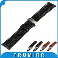 18mm 20mm 22mm Genuíno Relógio De Couro Banda para Rolex Aço Inoxidável Da Borboleta Fivela Correia de Pulso Pulseira Cinto Marrom preto