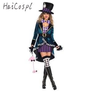 Image 1 - Halloween Alice in Wonderland Costumes Women Magician Cosplay Girls Princess Quess Magic Cosplay Female Coat