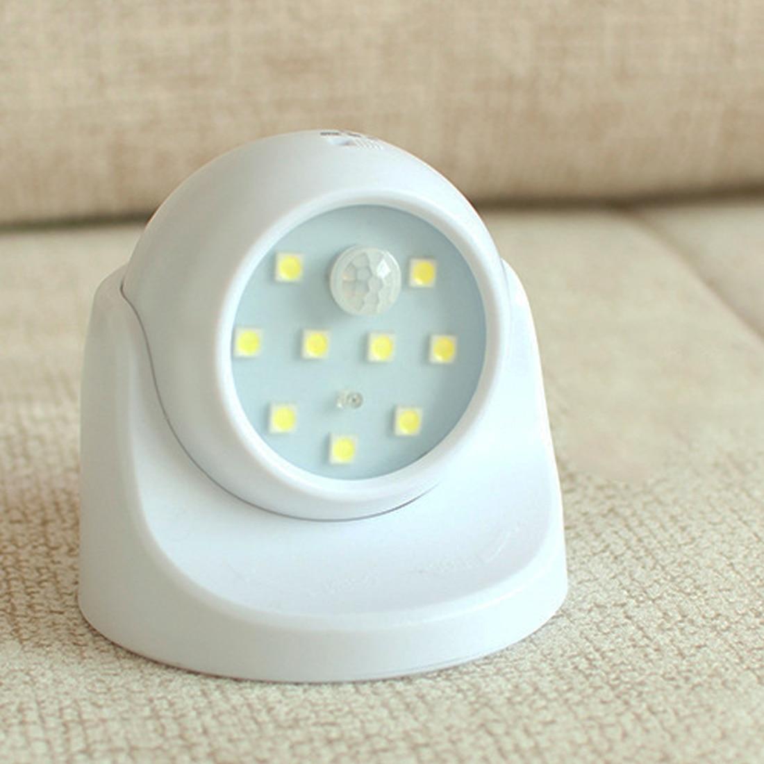 9 lámpara LED con cuentas de pared luces de Sensor de movimiento de luz de la noche de la rotación de 360 grados Auto inalámbrico PIR infrarrojo ir de seguridad, Detector de la lámpara Nueva luz nocturna con Sensor de movimiento inteligente LED lámpara de noche a pilas WC lámpara de noche para habitación pasillo inodoro DA