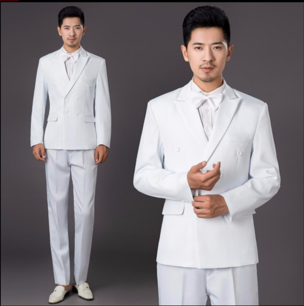 Jacket + Pants New Men White Double Breasted Suit Host Dress Singer Stage Performance Suit Wedding Groom Married Formal Dress