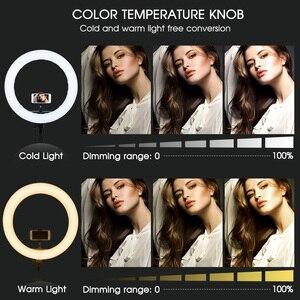 Image 5 - Travor 링 라이트 14 인치 링 램프 dimmable 콜드 및 따뜻한 빛 유튜브 메이크업 사진 ringlight 삼각대와 LED 라이트