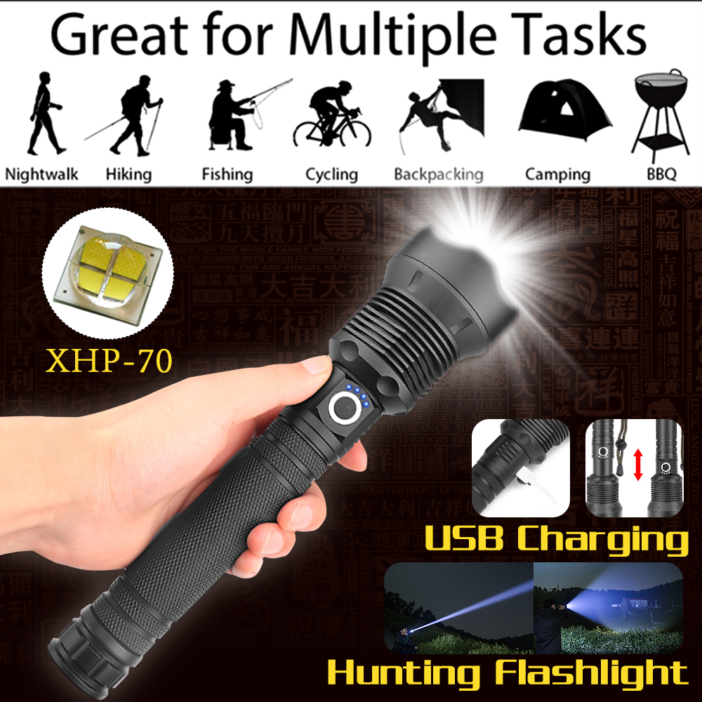 72000 lumens Lamp xhp70.2 most powerful flashlight usb Zoom led torch xhp50 18650 or 26650 Rechargeable battery hunting Люмен