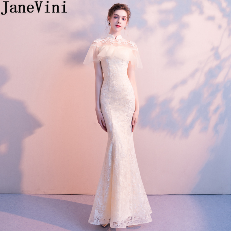 JaneVini Elegant Champagne Lace Long   Bridesmaid     Dresses   with Appliques Beaded High Neck Floor Length Mermaid Prom Party Gowns