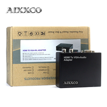 AIXXCO HDMI to VGA Converter With Audio / R/L HDMI2VGA 1080P Connector For PC Laptop to HDTV TV Box Projector HDMI2VGA Converter