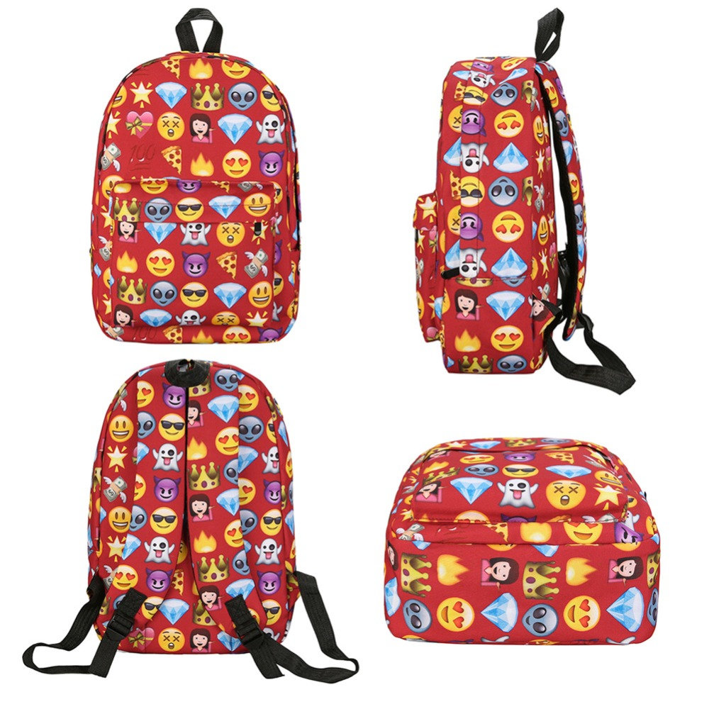 2pcs Emoji Backpack 3d Cute Smile Printing Backpack Waterproof Nylon Backpacks For Teenage Girls Travel School Bag Bolsa Mochila #5