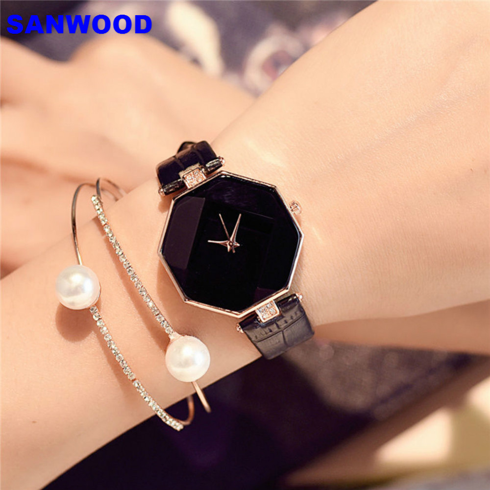 Women 's Fashion Faux Leather Band Analog Quartz Rhombic Case Wrist Watch Gift