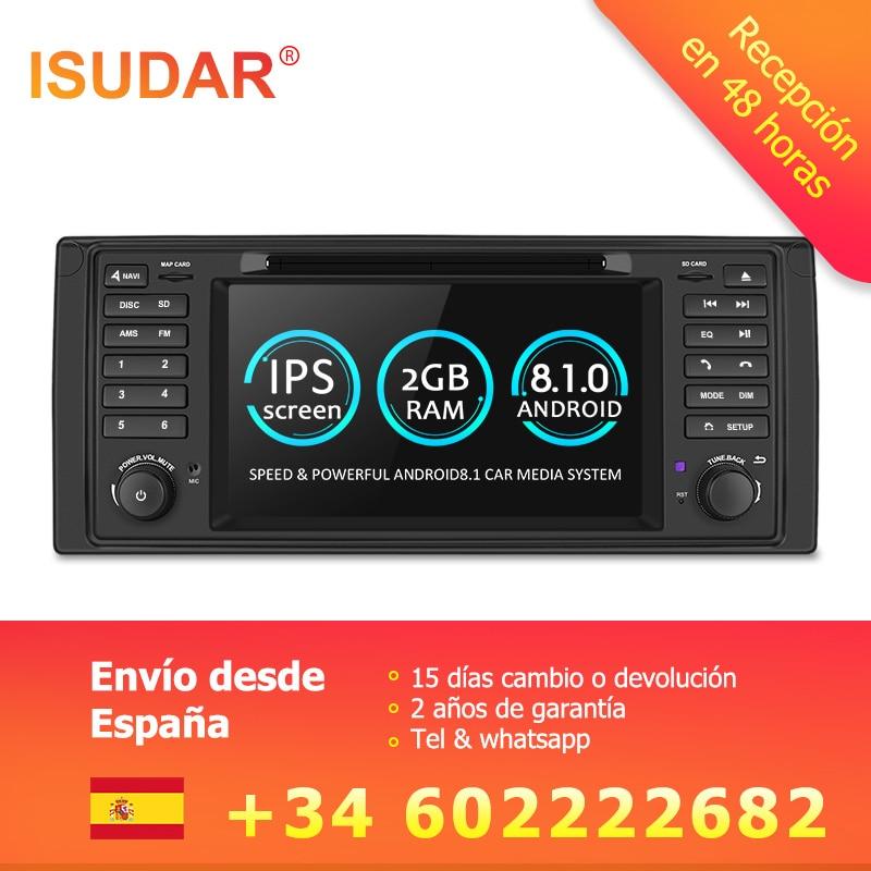 Isudar Système Multimédia De Voiture Android 8.1 1 Din Automotivo DVD Pour BMW 5 Série/X5 E53 E39 GPS Radio FM Quad Core 2 + 16 gb USB DVR