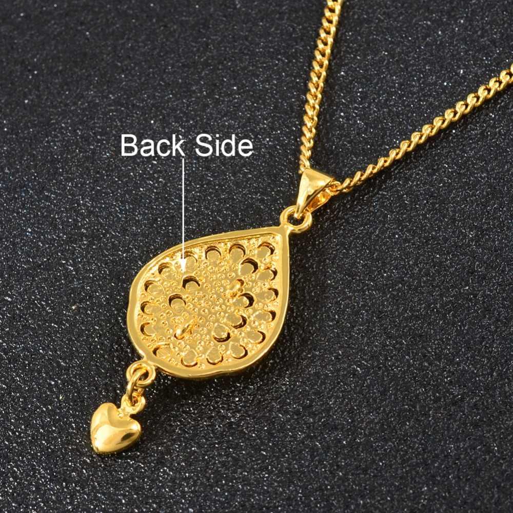 Anniyo Kecil Pesona Burung Merak Liontin Rantai Kalung untuk Wanita Wanita Warna Emas Perhiasan PNG Hadiah #006509