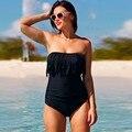 Las mujeres de Cintura Alta de La Borla de traje de Baño Empuja Hacia Arriba El Traje de Baño Bandeau Con Relleno Beach Wear traje de Baño Pieza Más Tamaño Sólido
