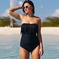 Women High Waist Tassel Swimsuit Push Up Bathing Suit Bandeau Padded Beach Wear One Piece Swimwear Plus Size Solid