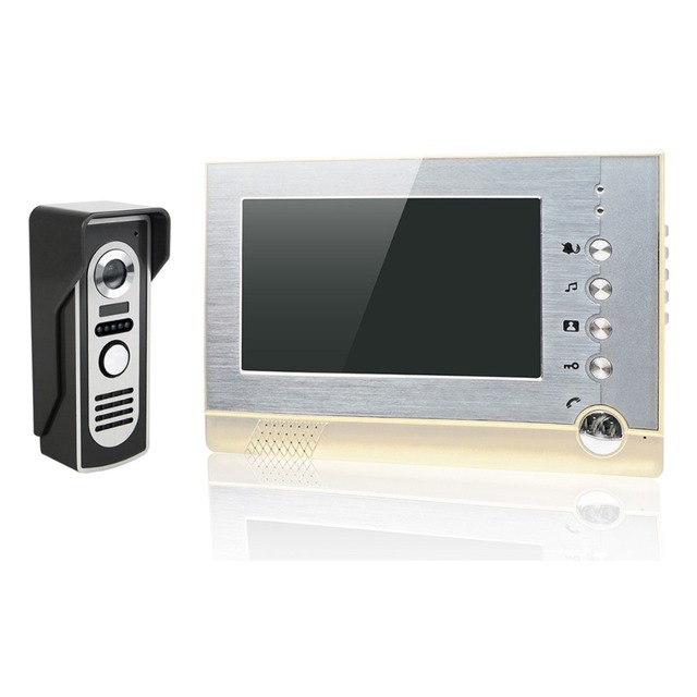 "7"" Color LCD Video Door Phone Wired Video Intercom Monitor Doorbell Camera Support Photo Shooting Storage F4460J"