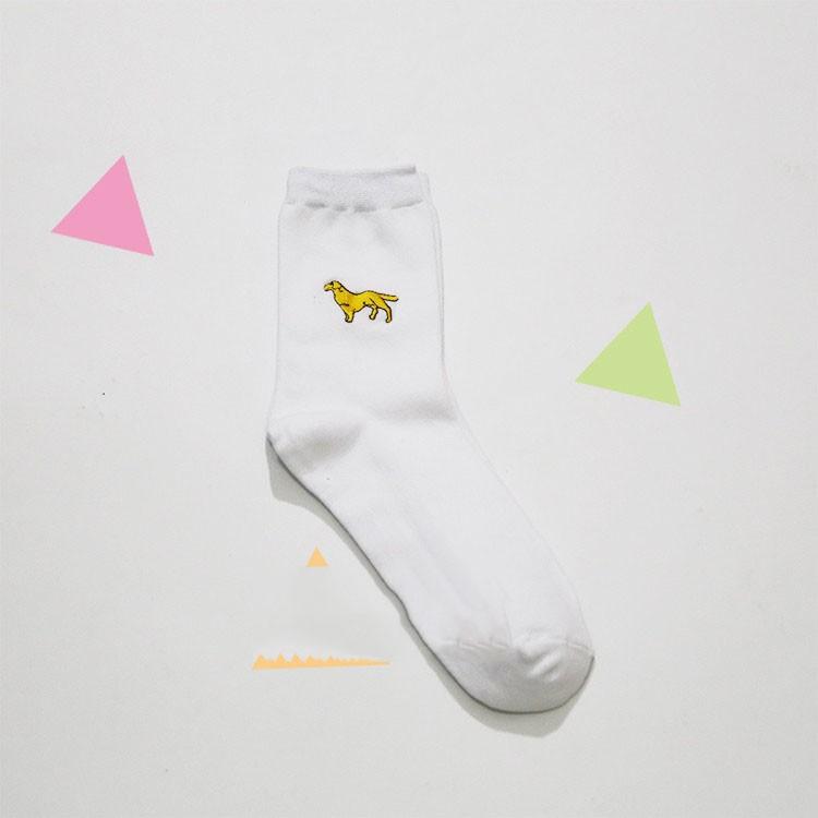 cute animal husky embroidery women cotton white socks lovely dog Jacquard female pure color socks funny kawaii pug meias soks 10