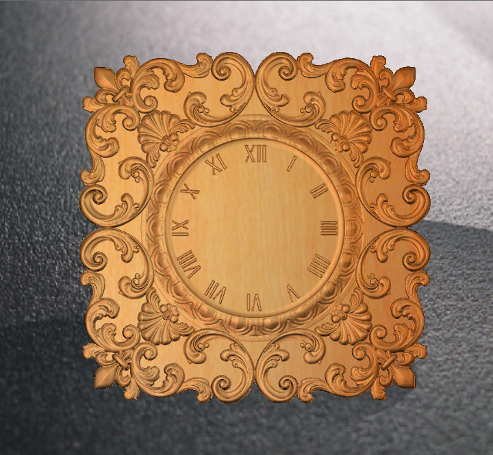 Clock 3D Relief STL Model For Cnc Router Carving Engraving Artcam Type3 Aspire C9