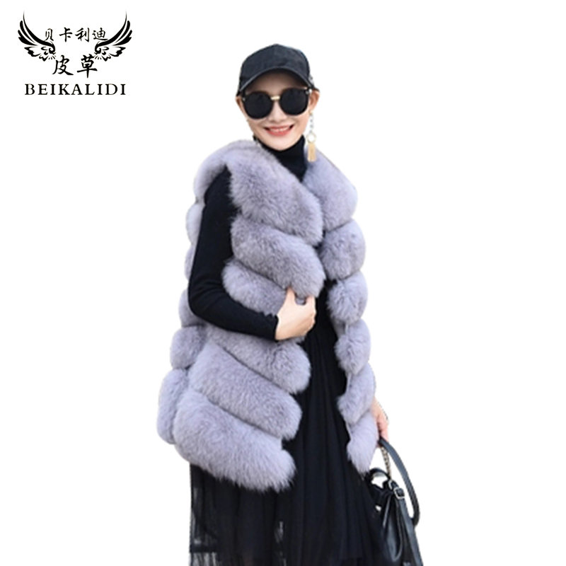 Natural Fox Fur Vest Hot New Six Sections Style Casual Sleeveless Long Vest Real Fox Fur Gilet Winter High Quality Women Fox