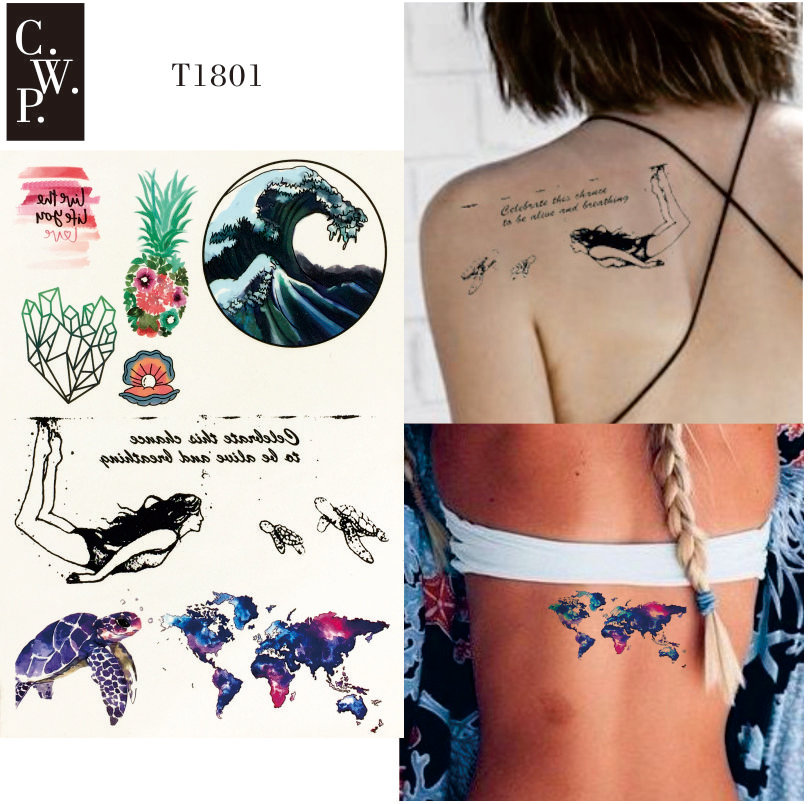 T1801 1 Piece Explore the Sea Temporary Tattoo with Wave, Sea Shell, World Map and Pineapple Pattern body paint Tattoos slip-on shoe