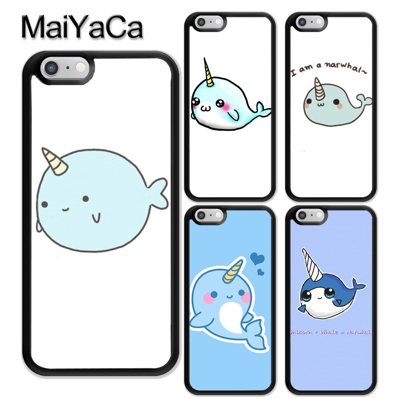 MaiYaCa Kawaii narwhal sea unicorns Pattern Soft Rubber Phone Cases For iPhone 6 6S Plus 7 8 Plus X 5 5S SE Cover Bags Skin
