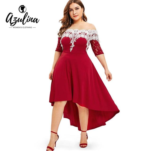 Rosegal Lace Panel Plus Size High Low Dress Women Dresses Fashion Spring Summer Half Sleeves Patchwork Dress Vestidos Big Size